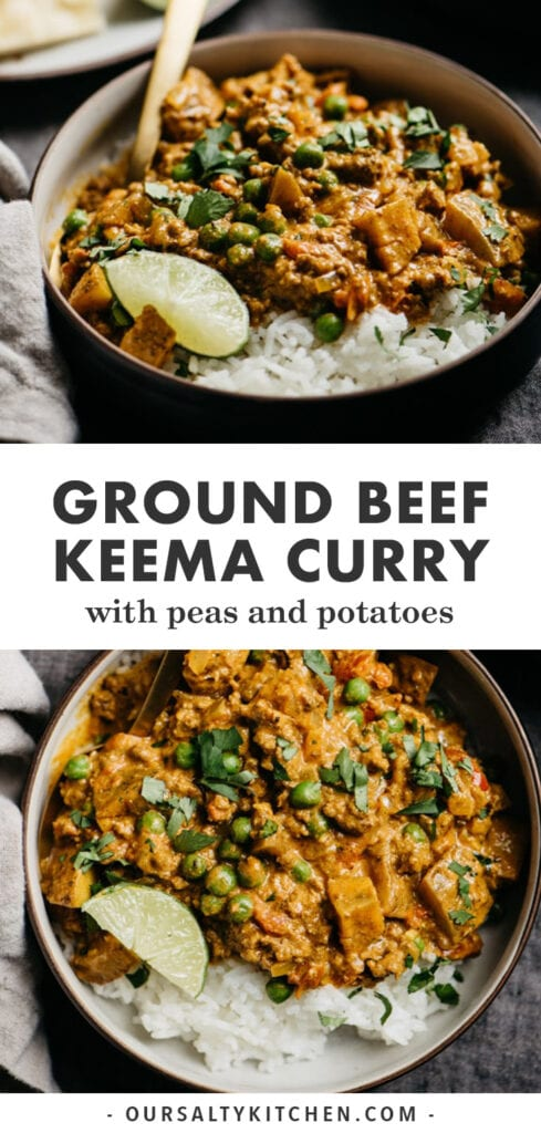 Pinterest collage for a recipe for keema curry with ground beef, peas, and potatoes.