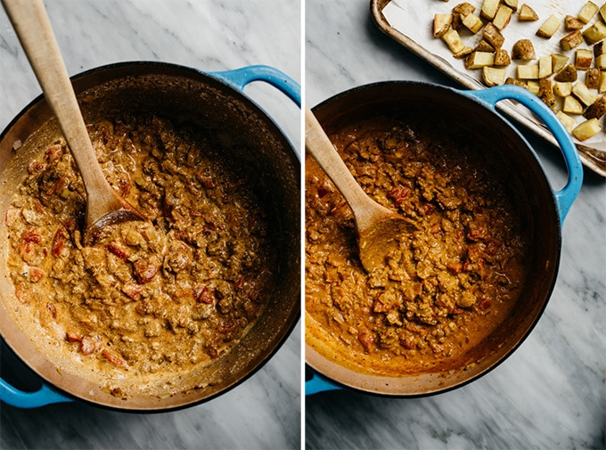 Two images showing keema curry in a dutch oven before and after simmering with coconut milk and tomatoes.