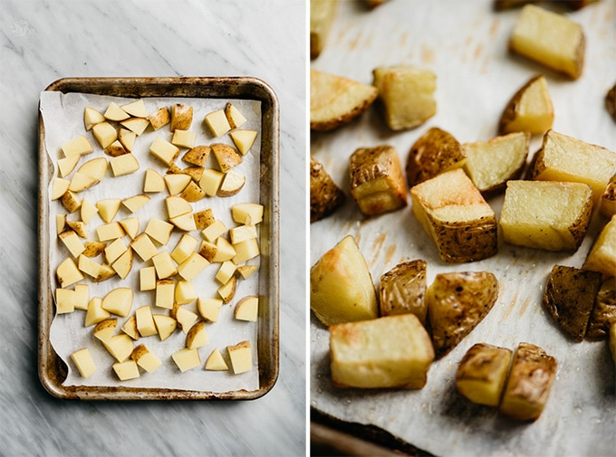 Diced yukon gold potatoes on a baking sheet before and after being roasted.