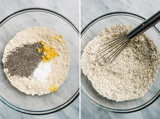 A mixing bowl of dry ingredients for paleo blueberry muffins before and after being whisked.