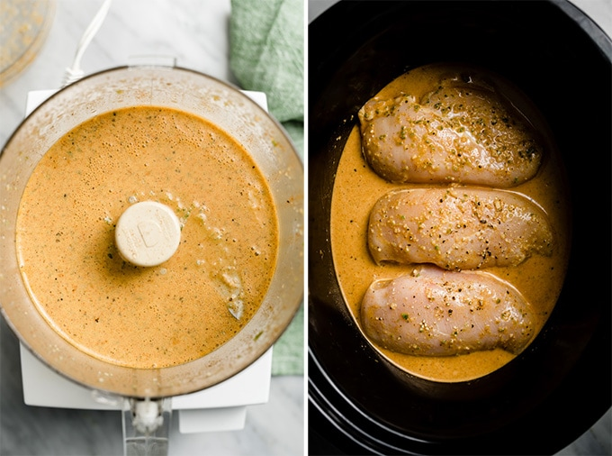 Cilantro lime chicken sauce in a food processor, and raw chicken breasts in a slow cooker covered with sauce.