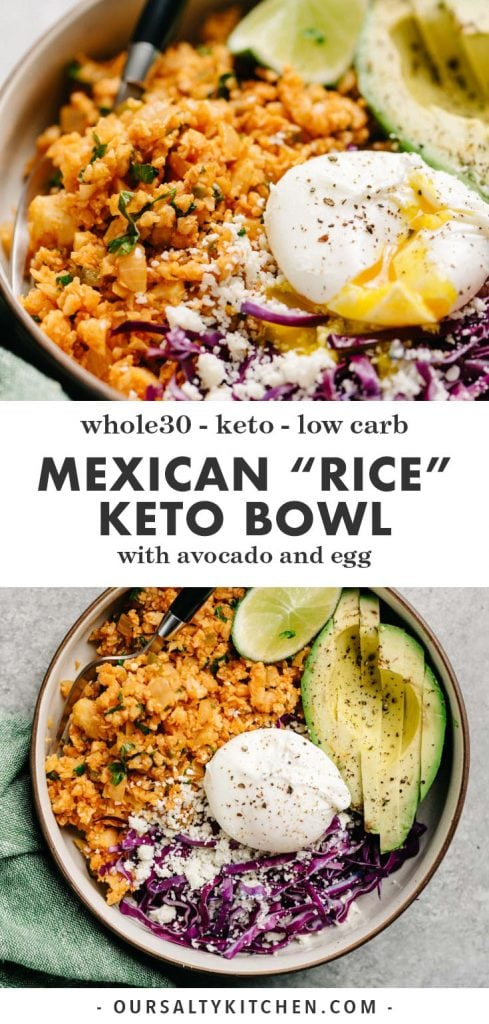 Pinterest collage for a mexican cauliflower rice keto bowl recipe.