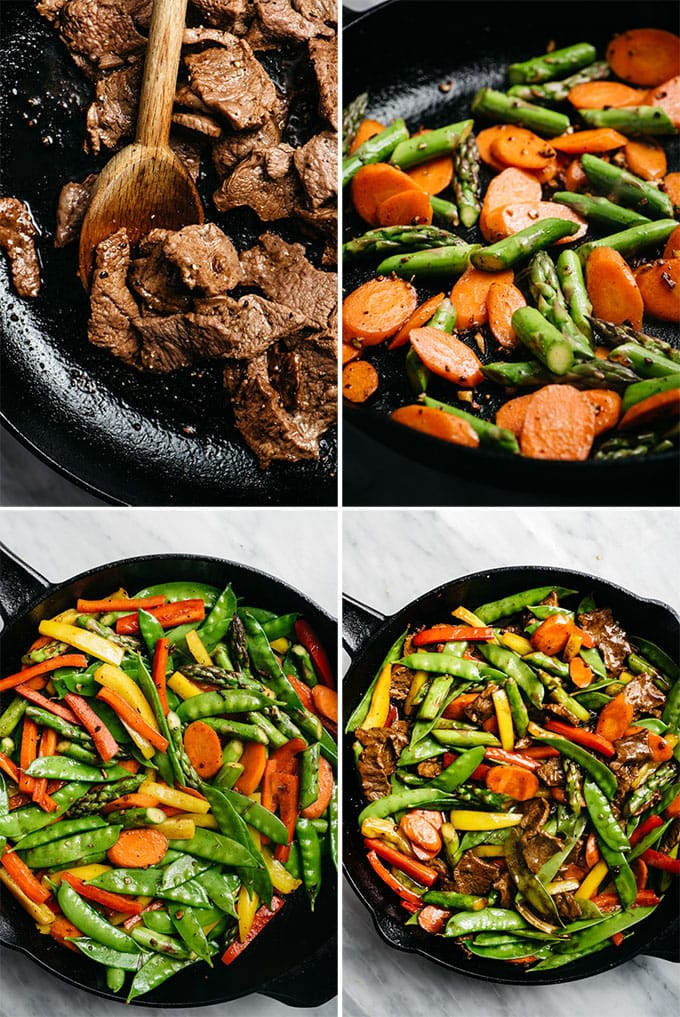 A collage showing how to make steak stir fry step by step.