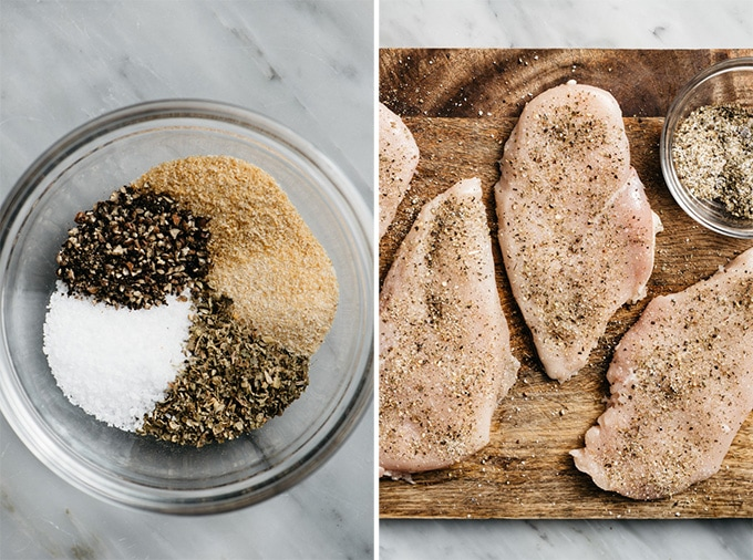 A small bowl with herb blend for making caprese chicken, and raw chicken breasts sprinkled with the herb blend.