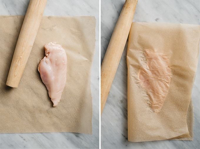 Two images showing how to pound out a chicken breast to even thickness using parchment paper and a rolling pin.