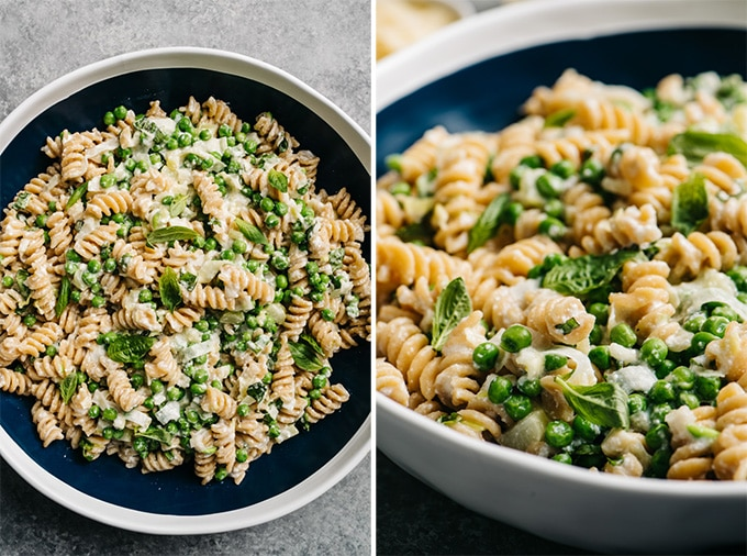 Two views of a large bowl of ricotta pasta with peas with leeks.