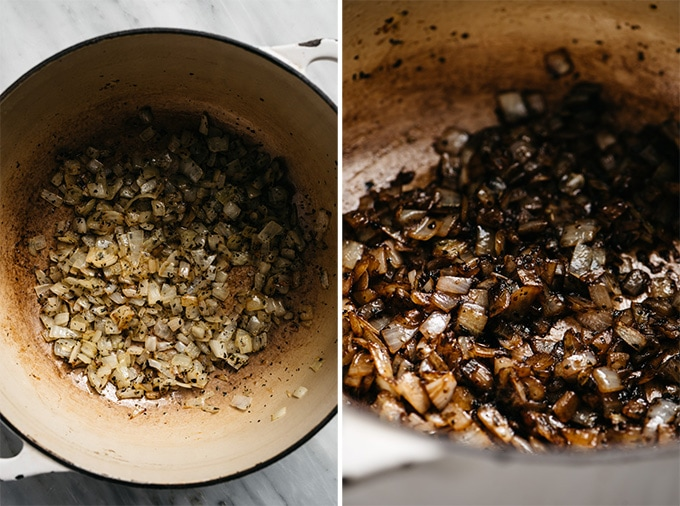 Sautéed sweet onions in a dutch oven, and sautéed sweet onions deglazed with balsamic vinegar.
