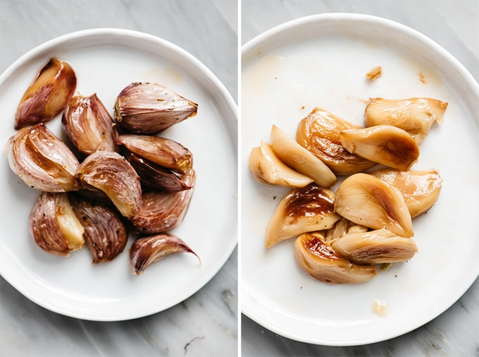 Roasted garlic cloves on a small white plate before and after being peeled.