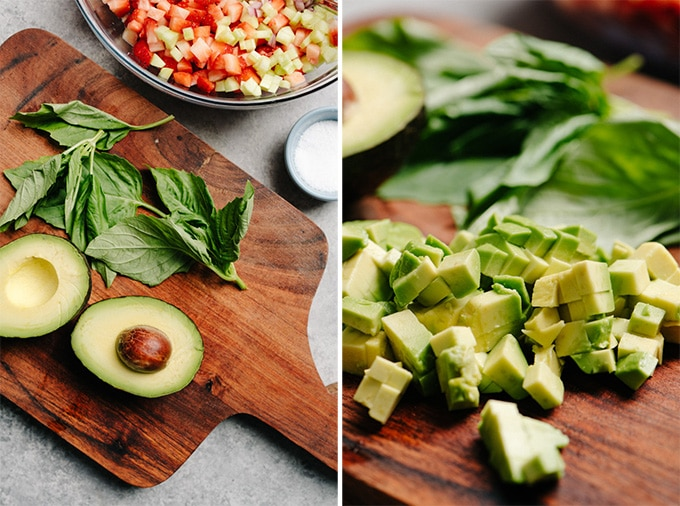 Avocado and basil on a cutting board, and diced avocado on a cutting board.