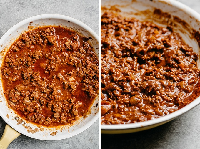 Homemade ground beef taco meat, before and after the sauce has been simmered and thickened.