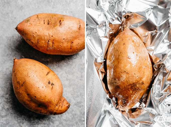 Two raw sweet potatoes pocked with the tines of a fork, and a microwaved sweet potato resting on a piece of foil.