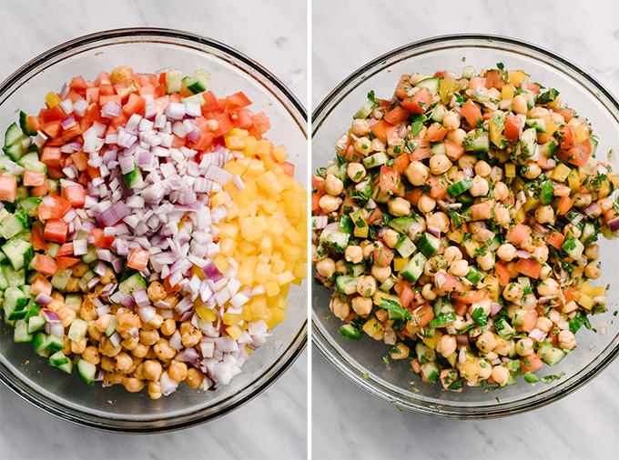 The ingredients for mediterranean chickpea salad in a large mixing bowl before and after being tossed together.