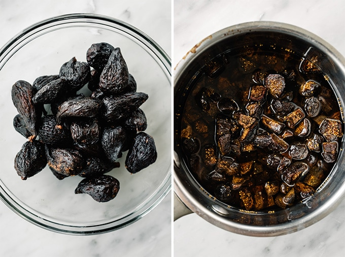 Dried figs in a bowl, and chopped figs covered with water in a small saucepan.