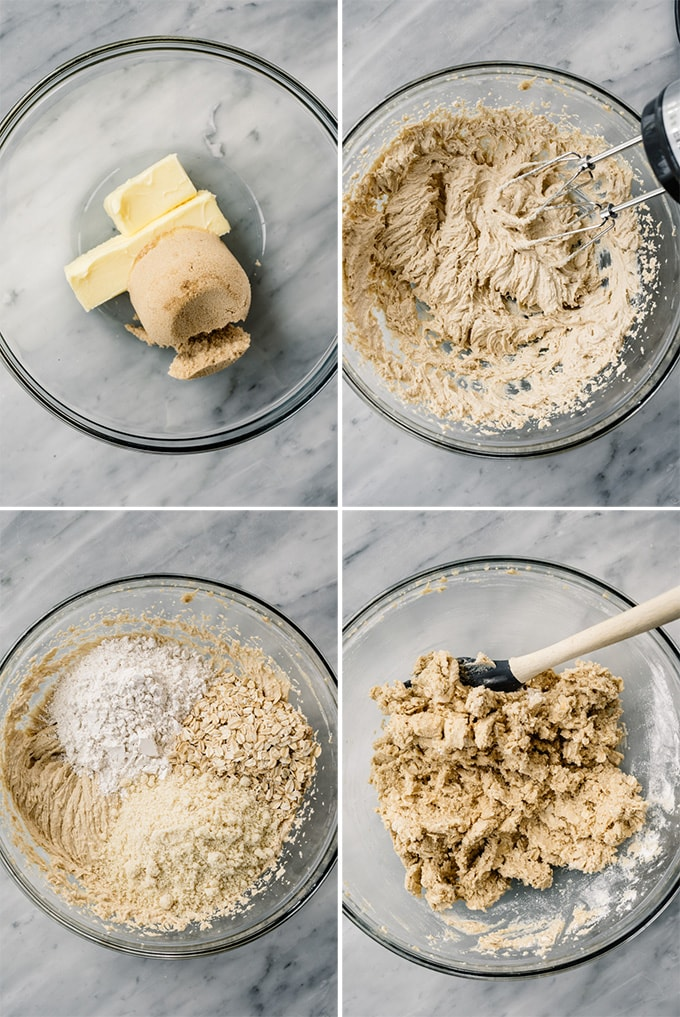A collage of four images showing how to make the crust for homemade fig bars.