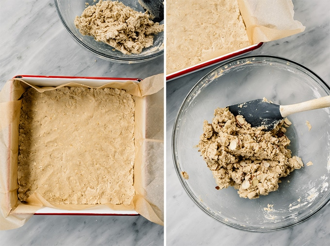 Two images showing how to press the crust into a baking sheet for homemade fig bars.