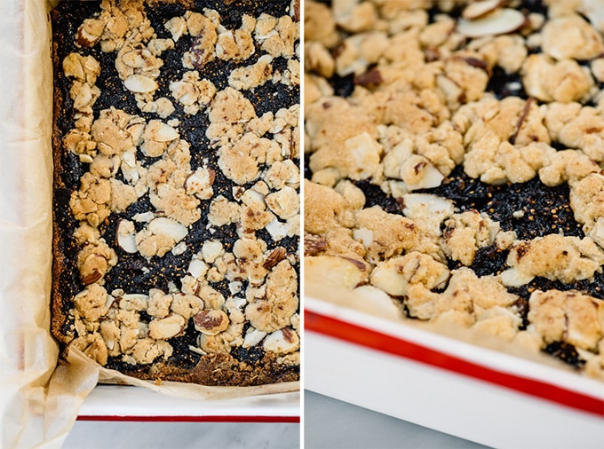 Homemade fig bar recipe fresh from the oven resting in a baking dish.