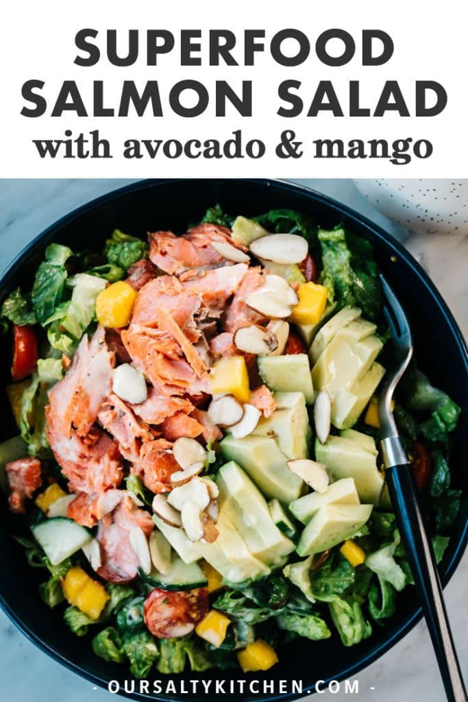 Pinterest image for salmon avocado salad.