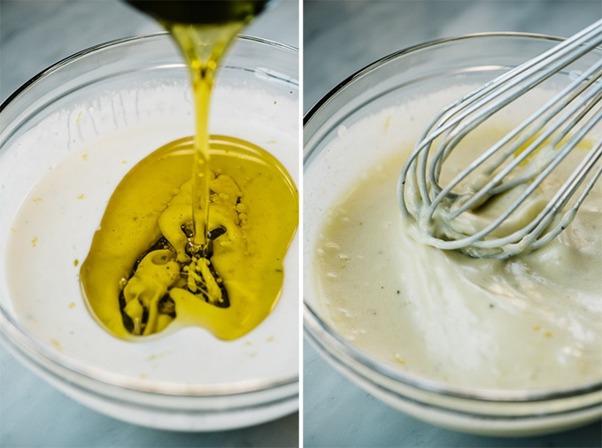 Two images showing the second step for making creamy lemon dressing.