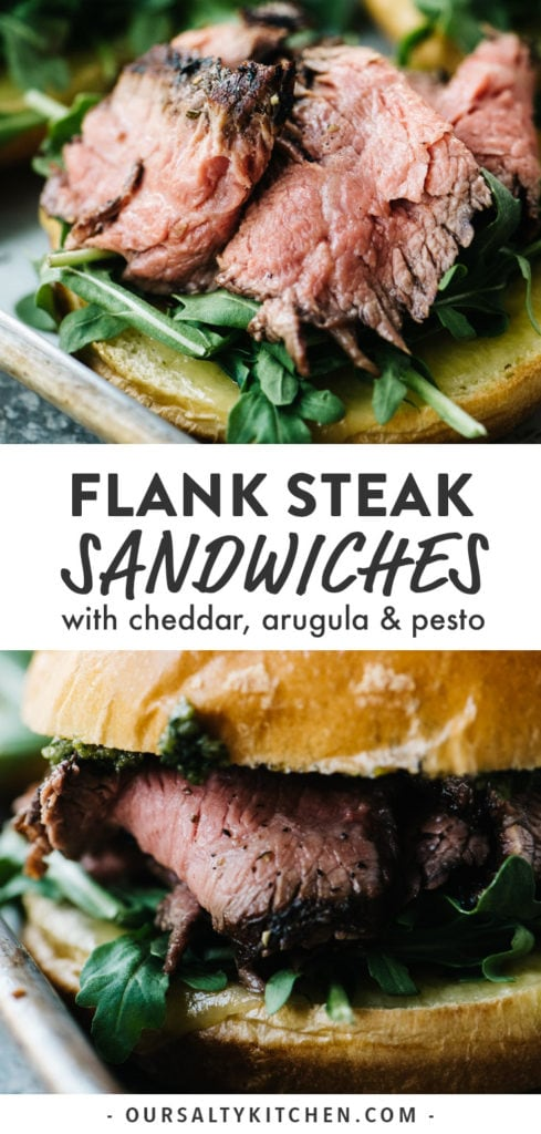 Pinterest image for the ultimate steak sandwiches with arugula and pesto.