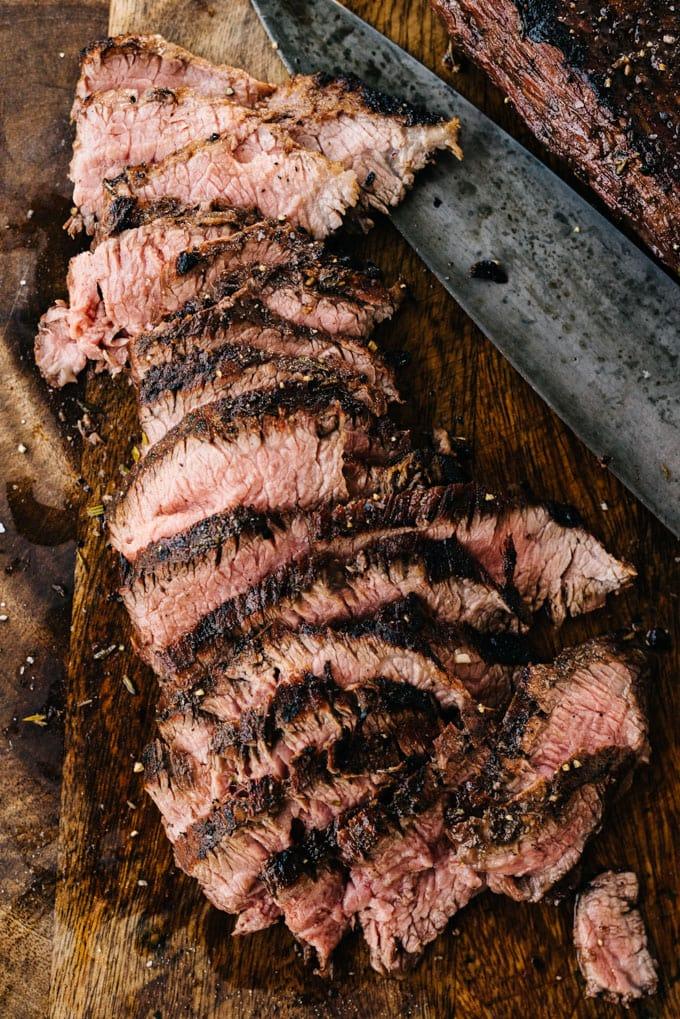 Slices of tender grilled flank steak.
