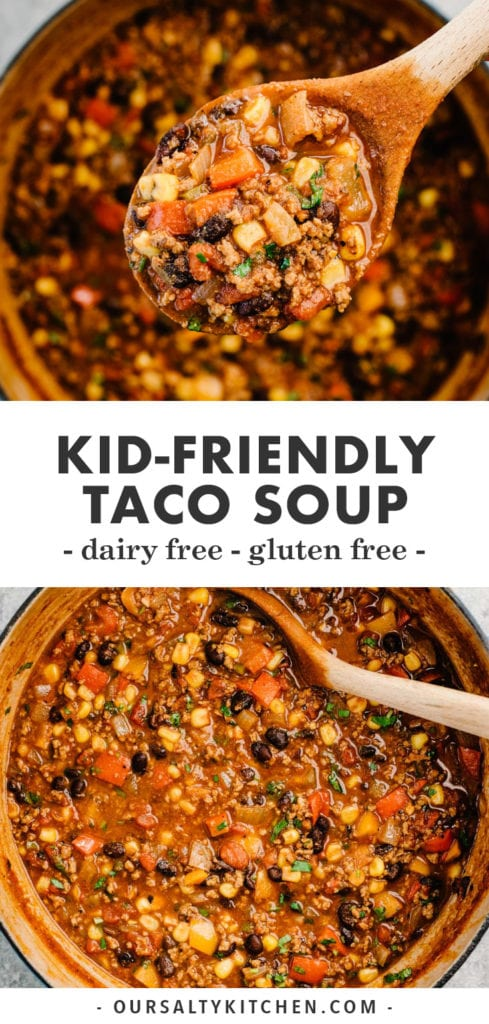 Pinterest image for healthy weeknight taco soup recipe.