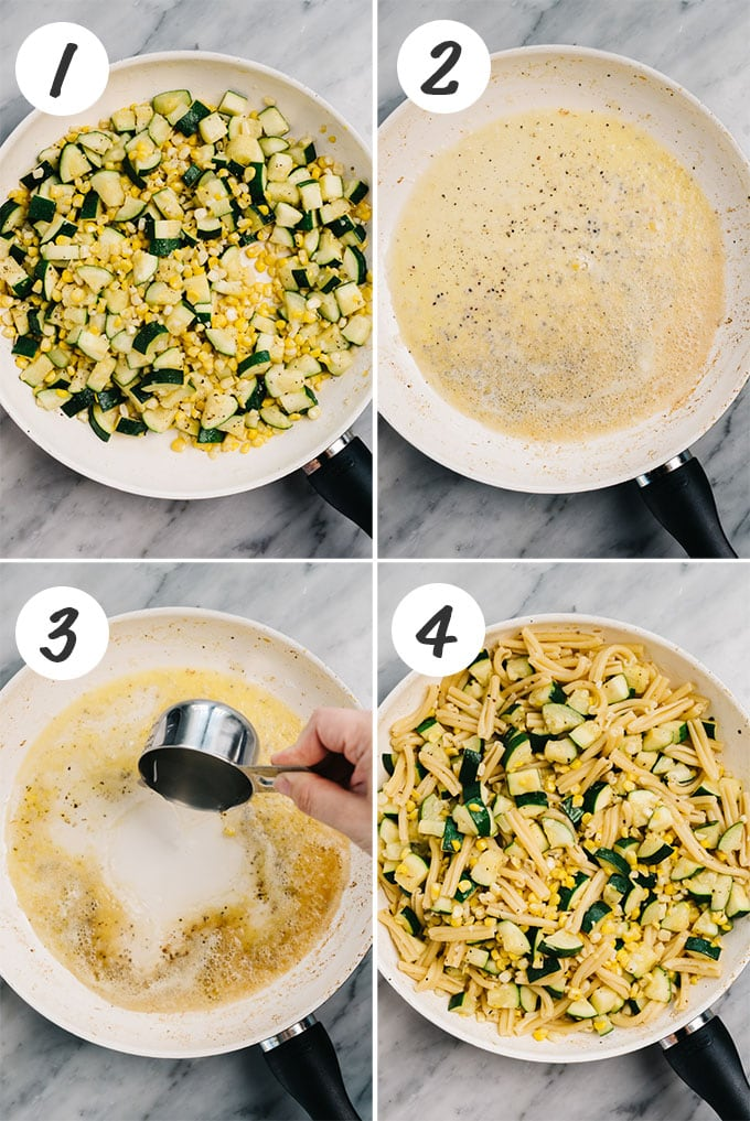 Collage of four images showing how to make summer pasta with zucchini and sweet corn.