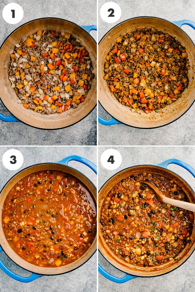 A collage of four images showing how to make ground beef taco soup step by step.