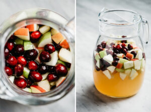 An overhead view and a side view of a pitcher of apple cider sangria ready to be be chilled.