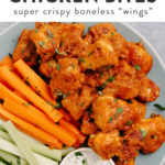 Pinterest image for buffalo chicken bites recipes (boneless buffalo wings).
