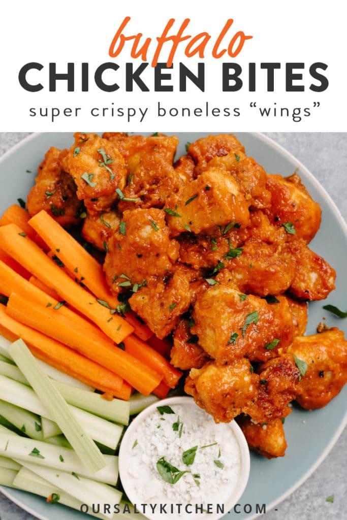 Pinterest image for buffalo chicken bites recipes (boneless buffalo wings).