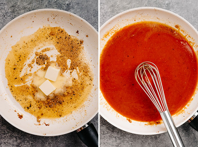 A collage showing how to make buffalo sauce for boneless buffalo chicken bites.