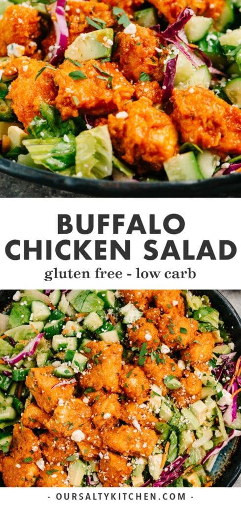 Pinterest collage for a gluten free buffalo chicken dinner salad recipe.