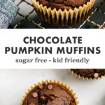 Pinterest collage for chocolate pumpkin muffins.