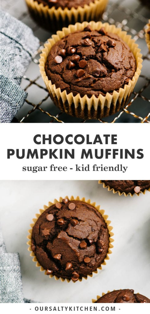 Pinterest collage for chocolate pumpkin muffins.