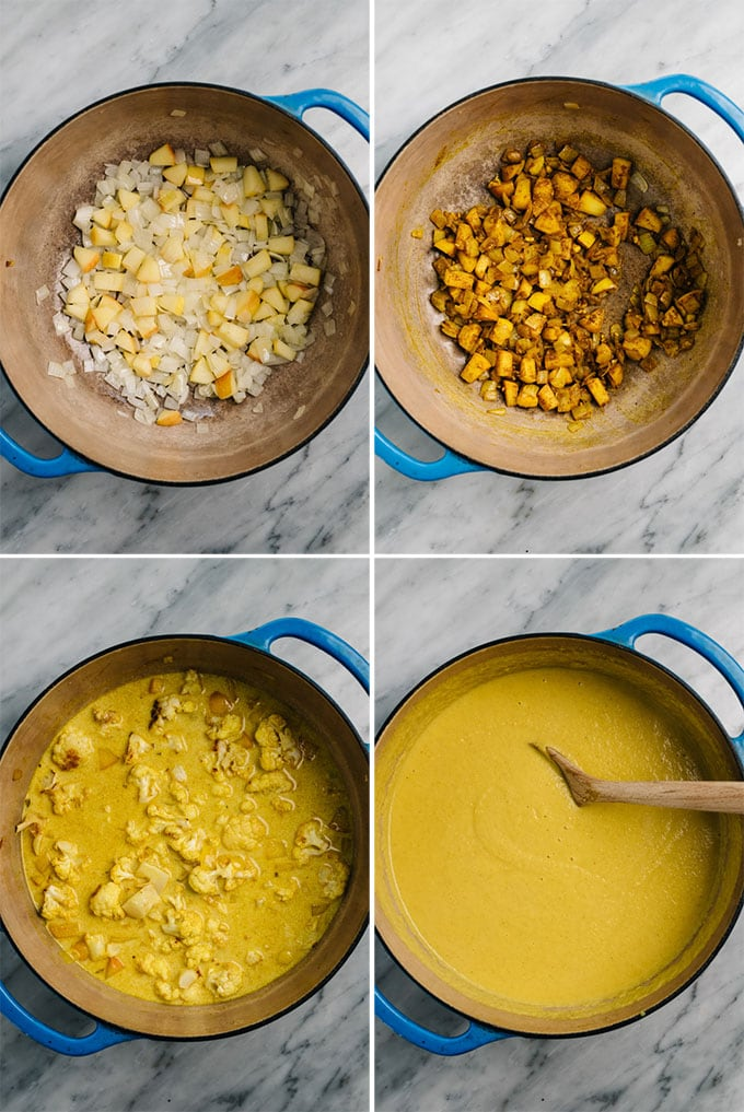 A collage showing step by step photos of how to make curried cauliflower soup.