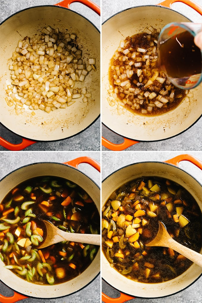 A photo collage of the steps for making homemade swedish meatball soup.