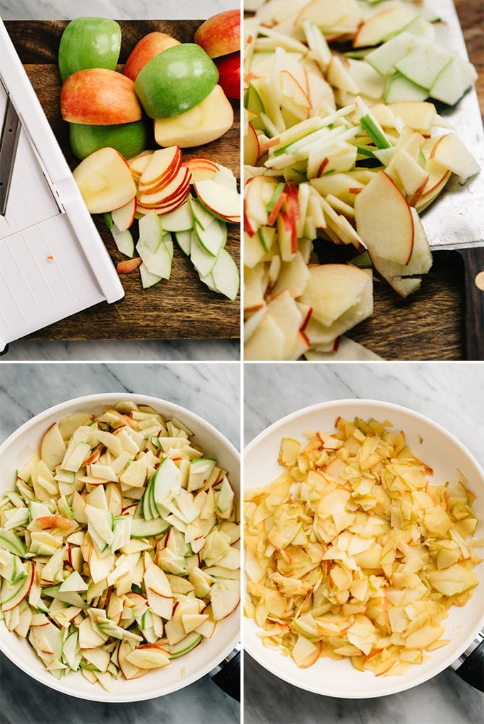 A collage of images showing how to slice and sautee apples for an apple bread pudding recipe.