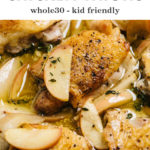 Pinterest image for apple chicken recipe with cider mustard sauce.