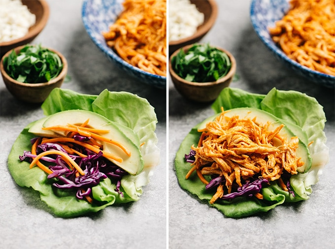 Two images showing how to layer the ingredients for buffalo chicken lettuce wraps.