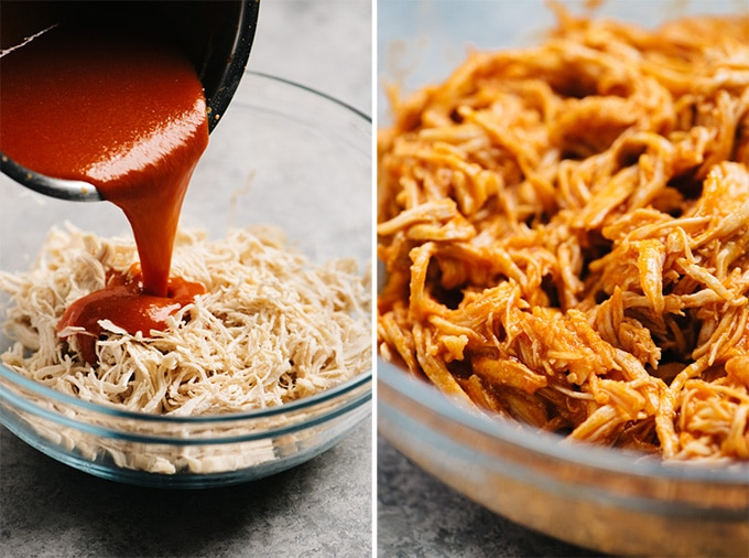 A collage showing how to make shredded buffalo chicken.