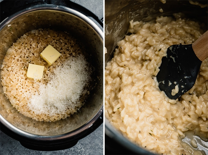 Two images showing instant pot risotto before and after stirring in butter and parmesan cheese.