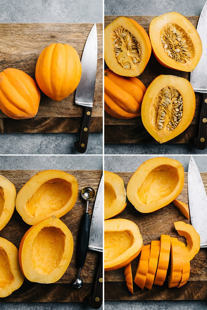 A collage of images showing how to cut an acorn squash.