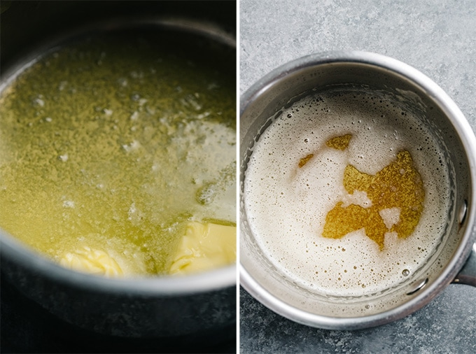Two images showing how to make brown butter.