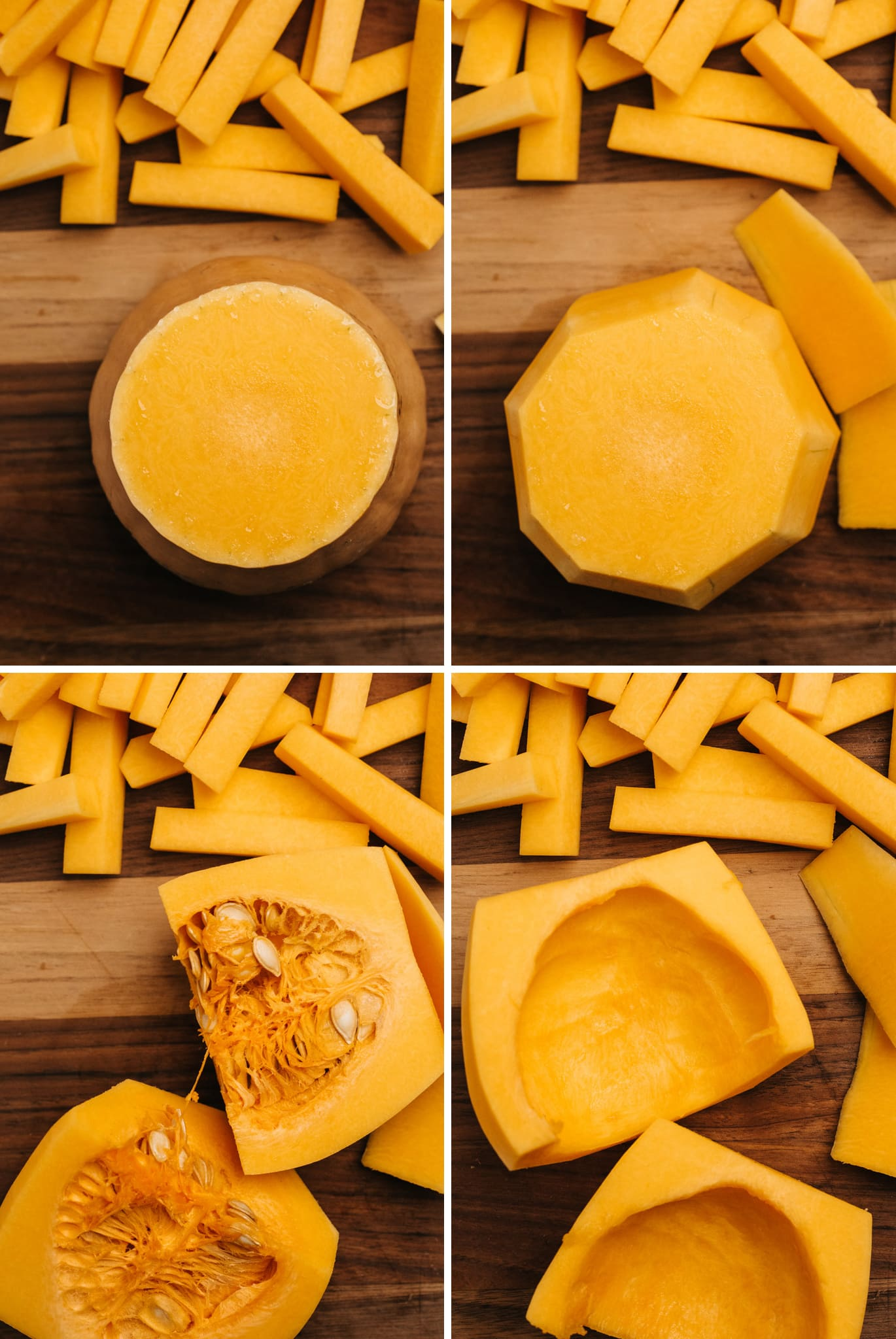 A collage showing how to cut a butternut squash to make fry shapes.