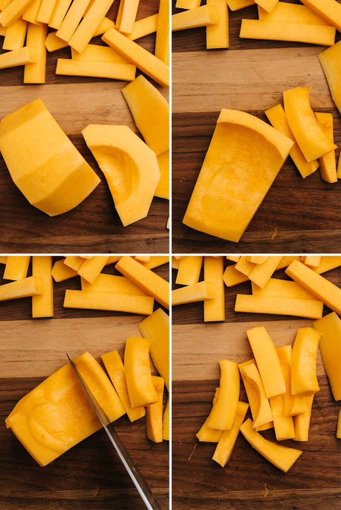 A collage showing how to cut a butternut squash to make fries.