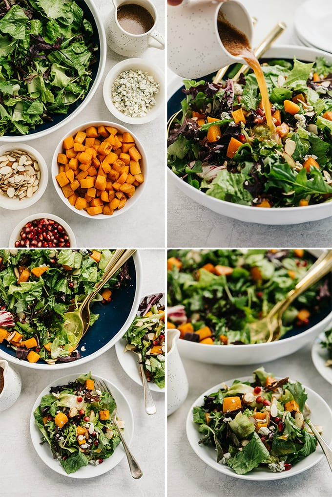 A collage of images showing an example of custom recipe photography for a butternut squash salad.