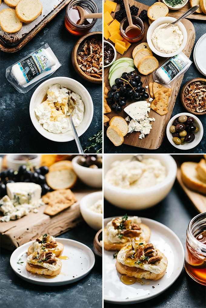 A collage of images showing an example of custom recipe photography for a cheese board.