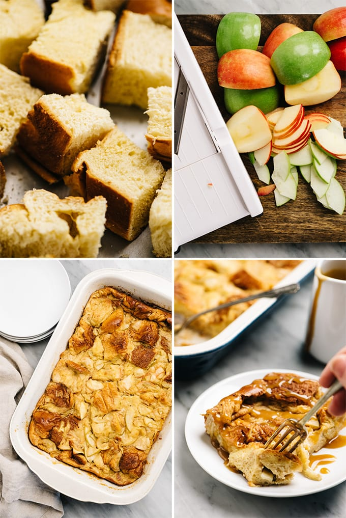 A collage of images showing an example of custom recipe photography for a bread pudding recipe.