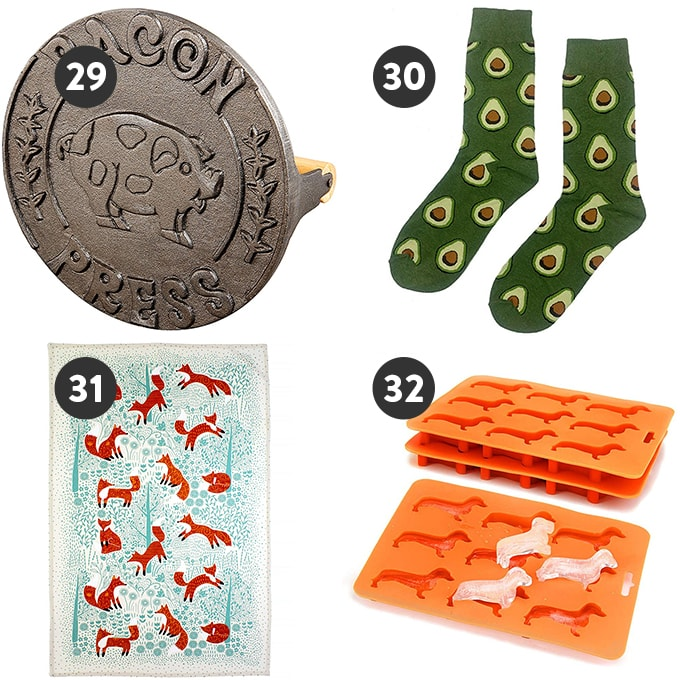 A collage of fun and quirky stocking stuffer gift ideas for foodies and home cooks.