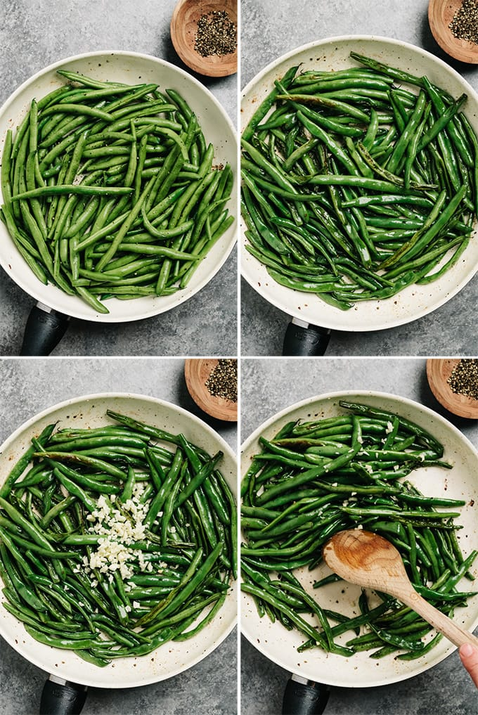 A collage showing how to cook green beans with bacon and garlic.